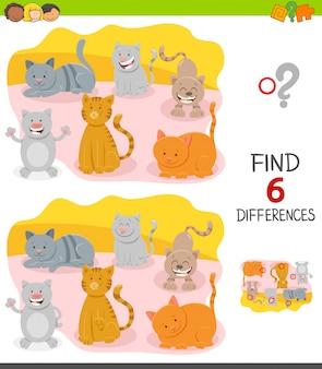 Jogo diferenças para crianças com felizes gatos