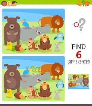 Jogo diferenças para crianças com personagens animais