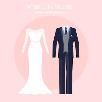 Jogo do belo vestido de noiva e terno do casamento