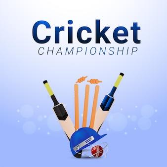 Jogo do campeonato de críquete com equipamento de críquete