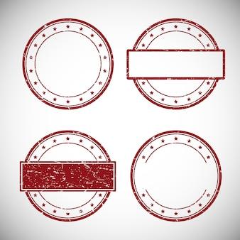 Jogo do carimbo de borracha vermelho do grunge, ilustração.
