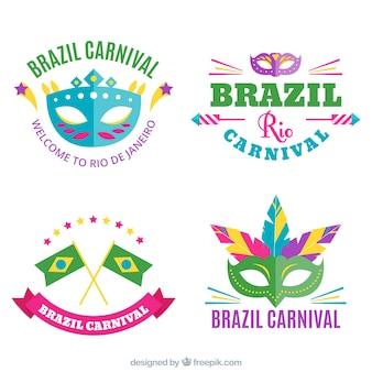 Jogo do carnaval brasileiro adesivos em design plano
