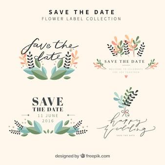 Jogo do casamento florais etiquetas do vintage