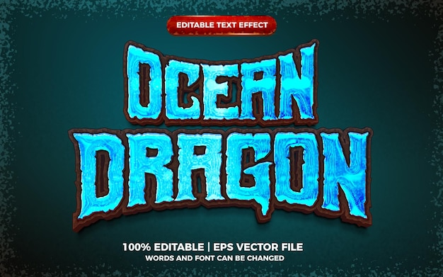 Jogo do dragão do oceano com efeito de texto editável em negrito estilo de modelo 3d