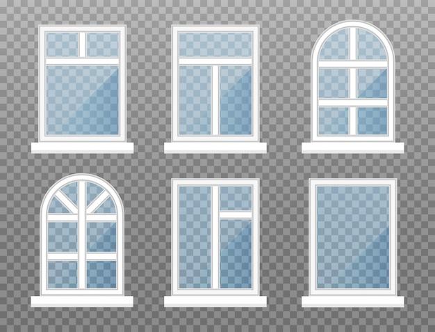 Jogo do frame de janelas dianteiro isolado da loja com vidros azuis.