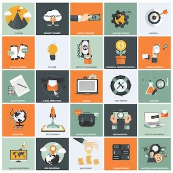 Jogo do ícone do plano de negócios