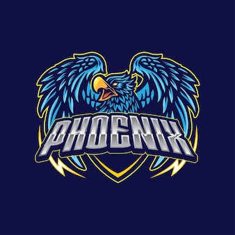 Jogo do mascote do logotipo do phoenix eagle bird esport