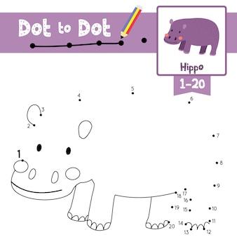 Jogo do ponto a ponto do hipopótamo e livro para colorir