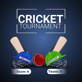 Jogo do torneio de críquete com jogador de vetor halmet e bastão