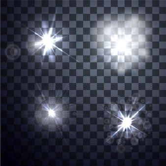 Jogo do vetor brilhante efeito de luz no fundo transparente
