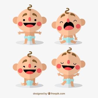 Jogo dos bebês agradáveis no design plano
