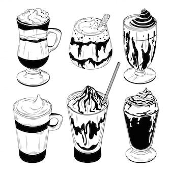 Jogo dos cocktail diferentes do café isolados no fundo branco.
