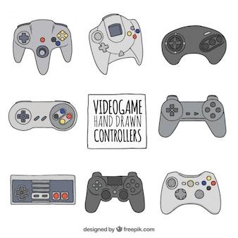 Jogo dos controladores de jogos de vídeo tirados mão