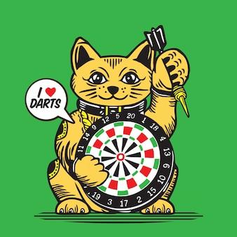Jogo dos dardos do gato da sorte da sorte
