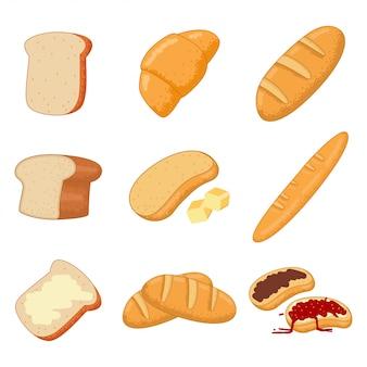 Jogo dos desenhos animados do pão e das pastelarias isolado em um fundo branco.