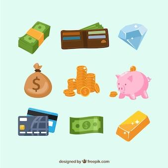 Jogo dos elementos de dinheiro com carteira