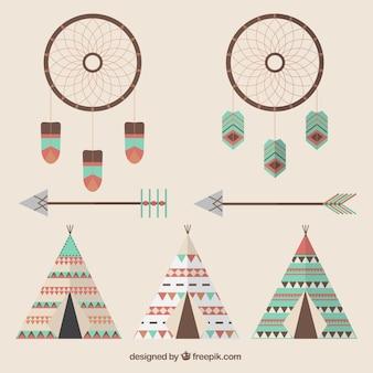 Jogo dos elementos indianos e setas em design plano