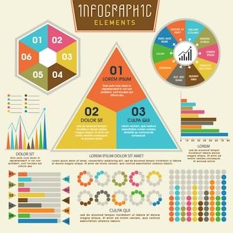 Jogo dos elementos infográfico coloridos com desenhos diferentes