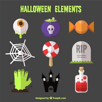 Jogo dos elementos para a realização das bruxas