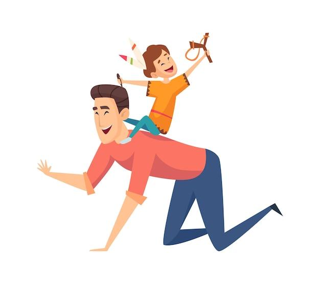 Jogo dos índios. pai e filho rindo, família isolada dos desenhos animados. menino feliz com penas no cabelo sente-se na ilustração vetorial de pai. felicidade da paternidade, infância brincando com o pai