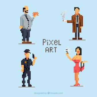 Jogo dos personagens de pixelizada com acessórios