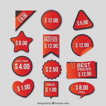Jogo dos preços etiquetas vermelhas