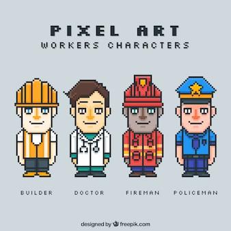 Jogo dos trabalhadores pixelizada