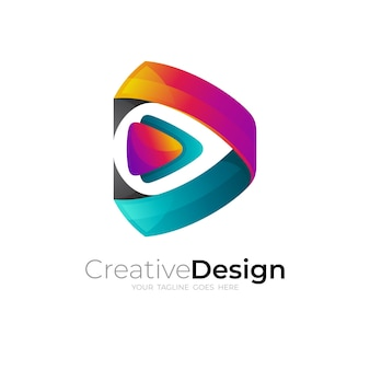Jogo e vetor de design de logotipo de tecnologia, estilo colorido