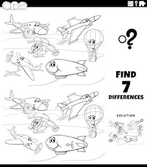Jogo educacional de diferenças com a página do livro para colorir de flying machines