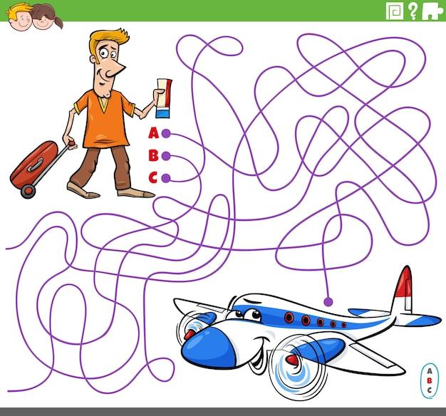 Jogo educacional de labirinto com homem de desenho animado e avião