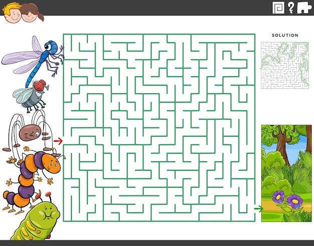 Jogo educacional de labirinto com insetos de desenho animado e prados