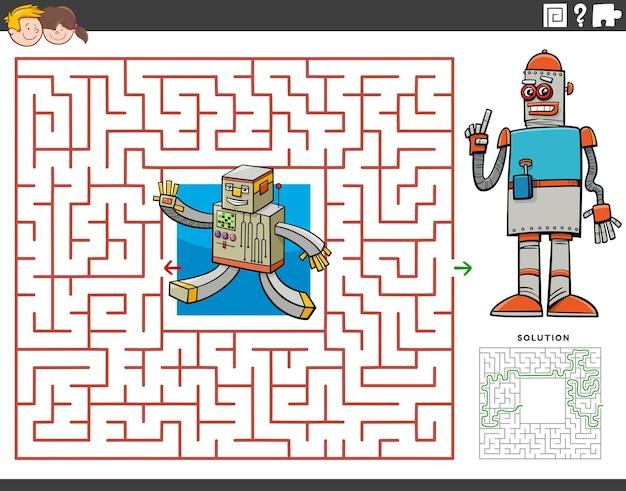 Jogo educacional de labirinto com robôs de desenho animado