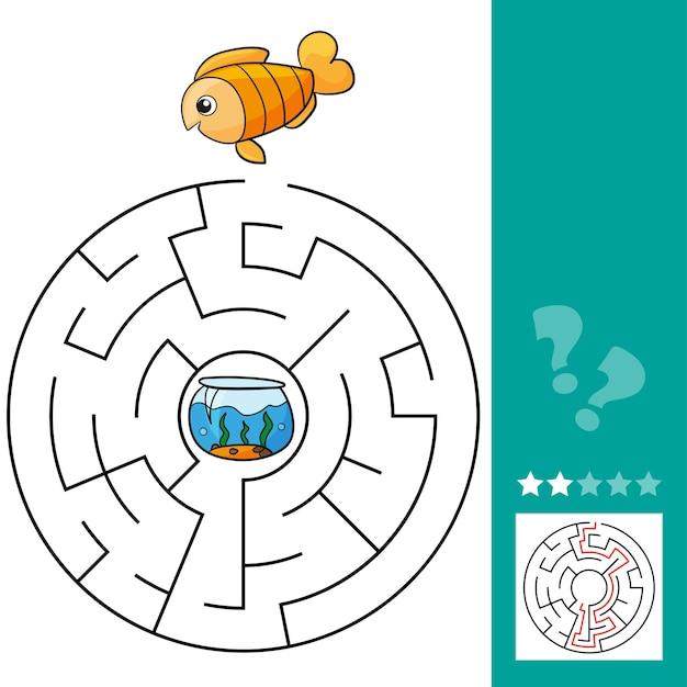 Jogo educacional de labirinto de peixes bonitos. ilustração em vetor de jogo educativo labirinto com peixes bonitos dos desenhos animados para crianças - com solução - ajude os peixes a voltar para o aquário