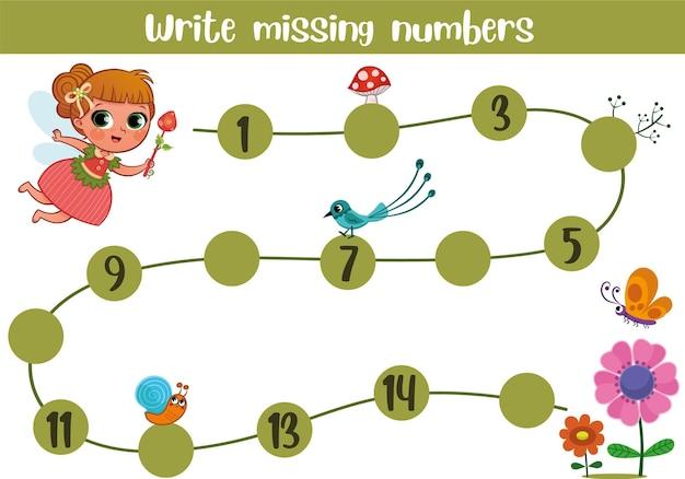 Jogo educacional de matemática para crianças completar a linha escrever ilustração vetorial de números ausentes