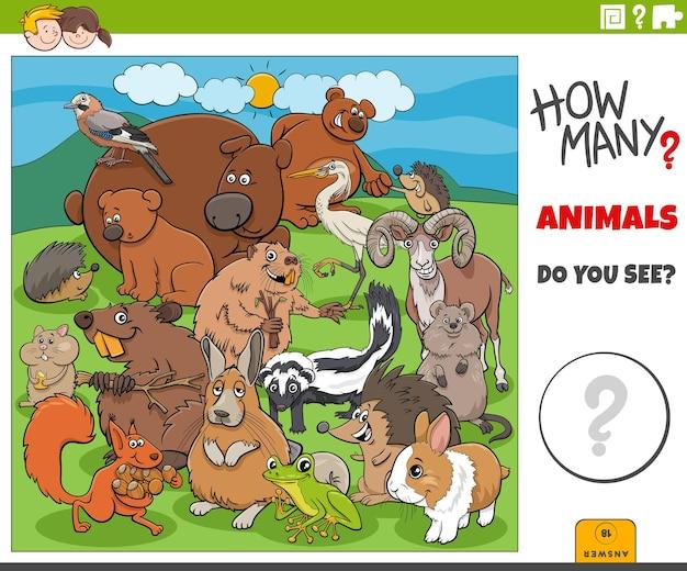 Jogo educacional de quantos animais de desenho animado para crianças