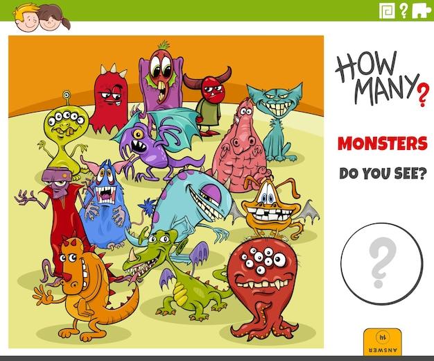 Jogo educacional de quantos monstros de desenho animado para crianças