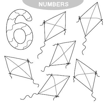 Jogo educativo - aprendizagem de números. número seis. livro de colorir para crianças pré-escolares. seis pipas