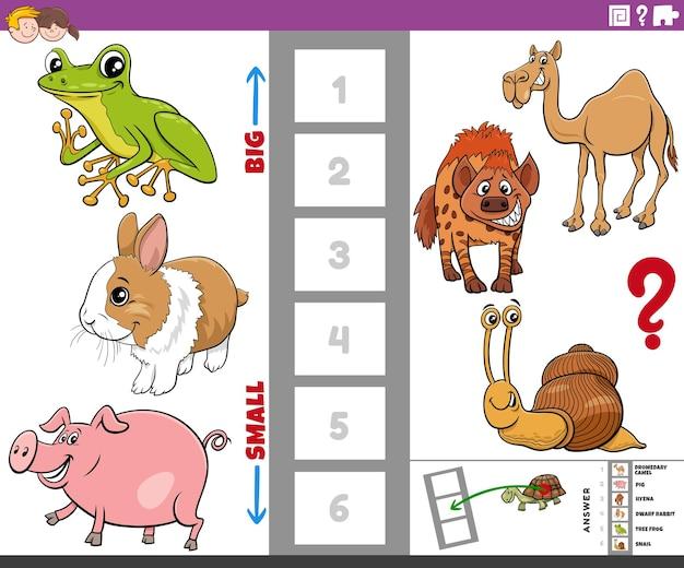 Jogo educativo com animais grandes e pequenos desenhos animados