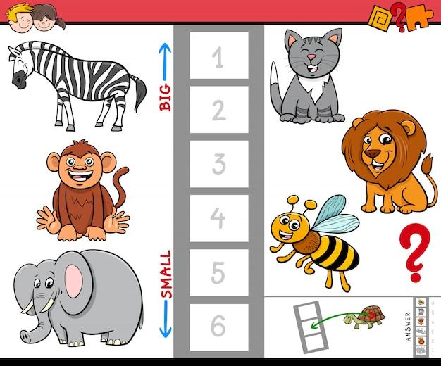 Jogo educativo com animais grandes e pequenos