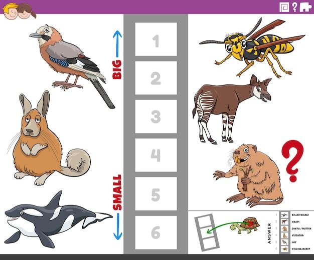 Jogo educativo com grandes e pequenos animais de desenho animado