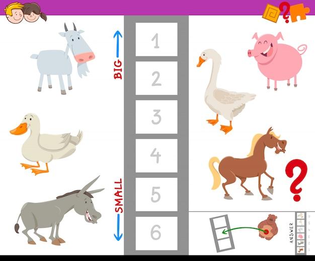 Jogo educativo com grandes e pequenos animais de fazenda