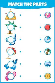 Jogo educativo combine as peças planilha para educação minijogo para crianças