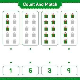 Jogo educativo contando o número de caixas de presente e combinando com os números certos