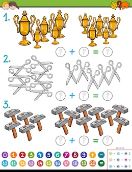 Jogo educativo de adição de matemática com objetos