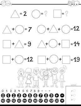 Jogo educativo de cálculo para crianças livro para colorir