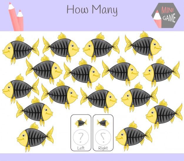 Jogo educativo de contagem de fotos orientadas para a esquerda e a direita para crianças com peixes
