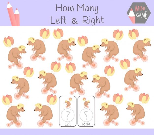 Jogo educativo de contagem de fotos orientadas para a esquerda e a direita para crianças com urso
