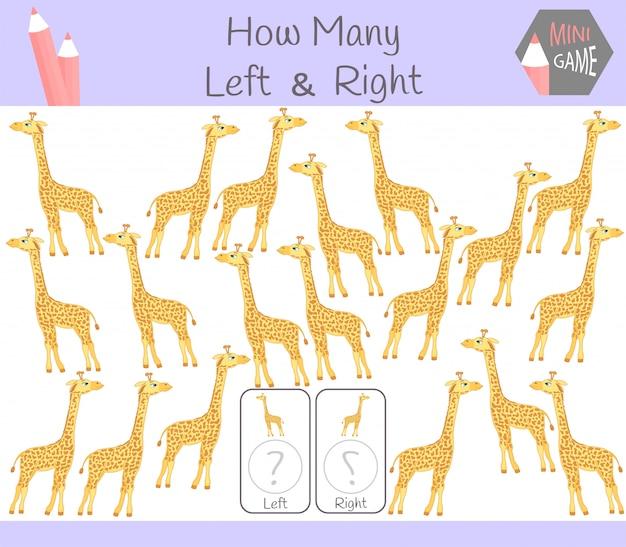 Jogo educativo de contagem de imagens orientadas para a esquerda e para a direita para crianças com girafa