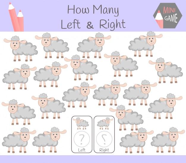 Jogo educativo de contagem de imagens orientadas para a esquerda e para a direita para crianças com ovelhas
