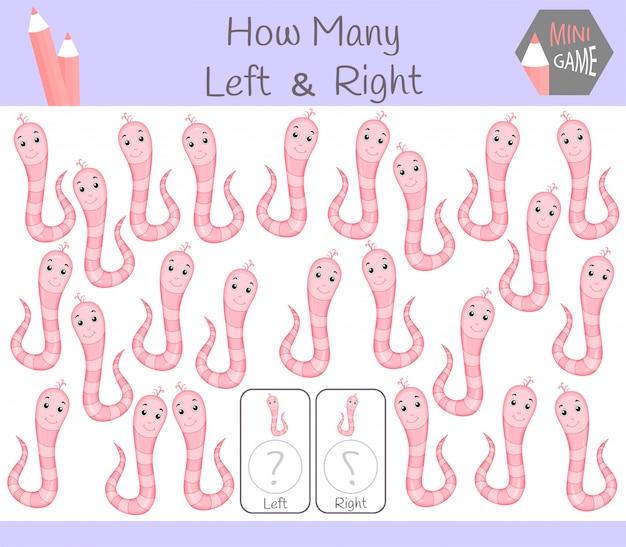 Jogo educativo de contagem de imagens orientadas para a esquerda e para a direita para crianças com verme
